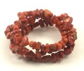 Red Coral Three Strand Chip Bracelet